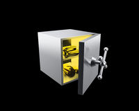 Opened safe with gold ingots Stock Image