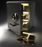 Opened safe with gold ingots. Isolated on black background. 3d render Stock Images