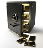 Opened safe with gold ingots Royalty Free Stock Image