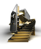 Opened safe with gold ingots Stock Photography