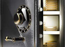 Opened safe with gold ingots. 3d render Stock Photography