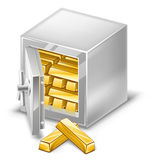 Opened safe with gold ingots. Vector illustration of opened safe with gold ingots on white background Royalty Free Stock Photo