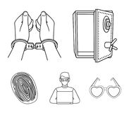Opened safe, handcuffs on the hands, a hacker, a fingerprint. Crime set collection icons in outline style vector symbol. Stock illustration Stock Images