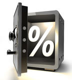 Opened safe with percent symbol Stock Images
