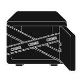 Opened safe with a protective tape. Creme, metal safe single icon in black style vector symbol stock illustration web. Royalty Free Stock Photo