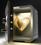 Opened safe with red heart Royalty Free Stock Photo