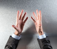 Opened salesman hands discussing in a meeting or presentation Stock Image