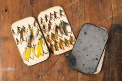 Vintage Salmon Flies Stock Photo