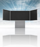 Opened school aluminium blackboard with sky flare Stock Photos
