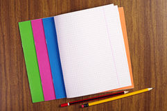 Opened school notebooks Stock Photo