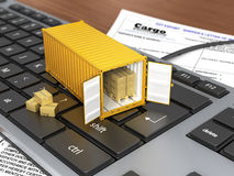 Opened ship container with boxes on the keyboard. Royalty Free Stock Photography