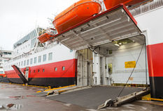 Opened side ramp gate on big ship Stock Images