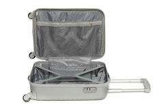 Opened silver suitcase Stock Photo