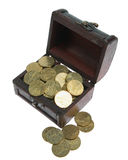 Opened small chest with gold coins. On white background stock photography