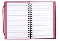 Opened Spiral Notebook. Closeup image of opened spiral bound notebook stock image