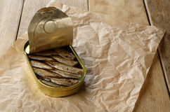 Opened Sprat tin can Royalty Free Stock Photos