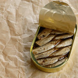 Opened Sprat tin can Royalty Free Stock Images