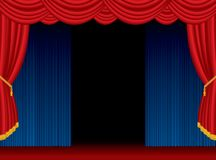 Open stage blue curtain stock illustration