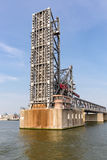 Opened steel bridge in the harbor of Antwerp, Belgium Stock Image