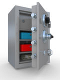 Opened steel safe with money and documents Royalty Free Stock Photo