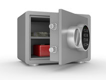 Opened steel safe with money and documents Royalty Free Stock Photos