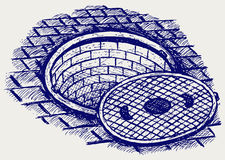 Opened street manhole Royalty Free Stock Photos