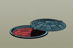 Opened street manhole. Realistic illustration Royalty Free Stock Photo