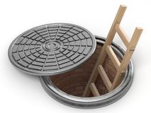Opened street manhole with wooden ladder inside. 3D Royalty Free Stock Images
