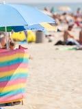 Opened sun umbrella on sandy beach Royalty Free Stock Photography