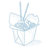 Opened take out box with chinese food. Stock Image