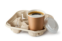 Opened take-out coffee in holder Stock Photos