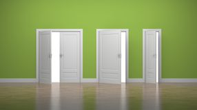 Opened thick and thin doors. Enter and Exit. Business concept. Green stock illustration