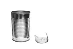 Opened tin can with cap of sheet Stock Photo