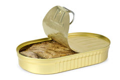 Opened tin can with conserved sprat Stock Photos