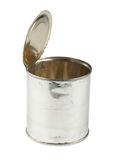 Opened tin can on white background Royalty Free Stock Photos