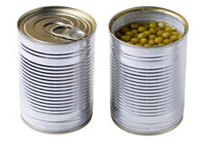 Opened tin with green peas isolated stock photography