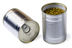 Opened tin with green peas isolated Royalty Free Stock Images
