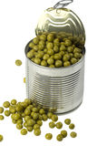 Opened tin with green peas Royalty Free Stock Image