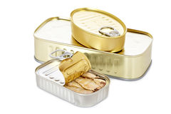 Opened tin of sardines. With soft shadow on white background Royalty Free Stock Image