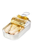 Opened tin of sardines. With soft shadow on white background. Shallow depth of field Royalty Free Stock Photography