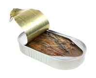 An opened tin of smoked herring fillets Royalty Free Stock Photography