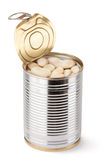 Opened tin with white beans. Standing on a white Stock Image