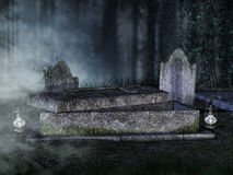Opened tomb in a graveyard Stock Photography