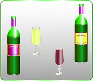 Opened translucent bottles and wine glasses with white and red wine. The label is modified or replaced. Vector illustration Royalty Free Stock Photos
