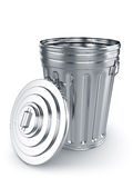 Opened trash can. 3d render of opened trash can isolated on white background Royalty Free Stock Image