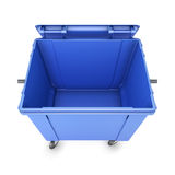 Opened trash can on wheels Royalty Free Stock Photography