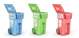 Opened trash cans for trash sorting. Isolated on a white. 3d illustration Stock Photography