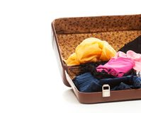 Opened traveler vintage case with clothes. Isolated on white background. Travel or journey concept royalty free stock photos