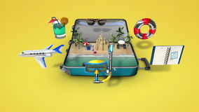 Opened a traveling bag, trunk, Prepare to travel for summer vacation, tour stock footage
