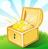 Opened treasure box with gold Royalty Free Stock Images